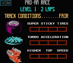 Menu screen of the game R.C. Pro-Am on Nintendo NES