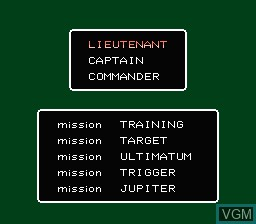 Menu screen of the game Rescue - The Embassy Mission on Nintendo NES