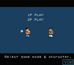 Menu screen of the game River City Ransom on Nintendo NES