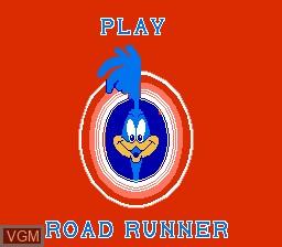 Menu screen of the game Road Runner on Nintendo NES