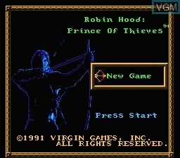 Menu screen of the game Robin Hood - Prince of Thieves on Nintendo NES