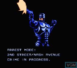 Menu screen of the game RoboCop on Nintendo NES