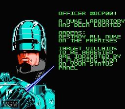 Menu screen of the game RoboCop 2 on Nintendo NES