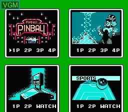 Menu screen of the game Rock 'n' Ball on Nintendo NES