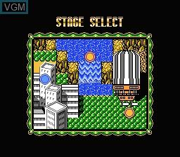 Menu screen of the game Rocman X on Nintendo NES