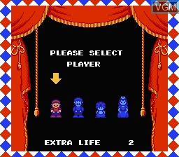 Menu screen of the game Super Mario Bros. 2 on Nintendo NES