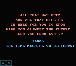 Menu screen of the game Taboo - The Sixth Sense on Nintendo NES