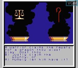 Menu screen of the game Ultima - Warriors of Destiny on Nintendo NES
