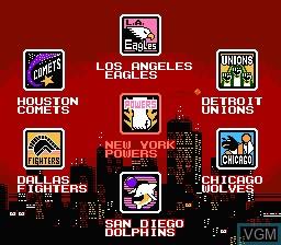 Menu screen of the game Ultimate Basketball on Nintendo NES