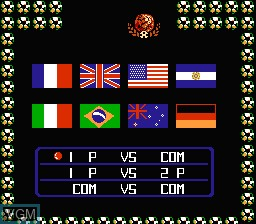 Menu screen of the game Ultimate League Soccer on Nintendo NES