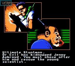 Menu screen of the game Ultimate Stuntman on Nintendo NES