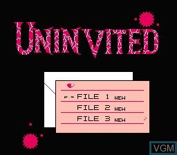 Menu screen of the game Uninvited on Nintendo NES