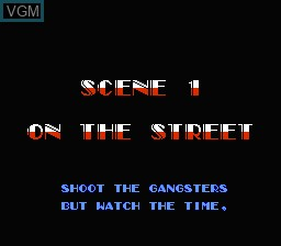 Menu screen of the game Untouchables, The on Nintendo NES