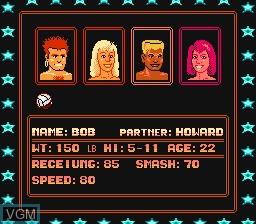 Menu screen of the game Venice Beach Volleyball on Nintendo NES