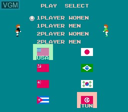 Menu screen of the game Volleyball on Nintendo NES