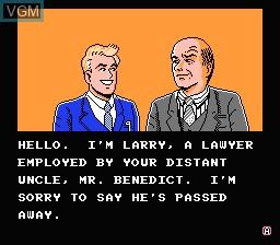 Menu screen of the game Wall Street Kid on Nintendo NES