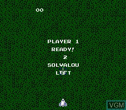 Menu screen of the game Xevious - The Avenger on Nintendo NES
