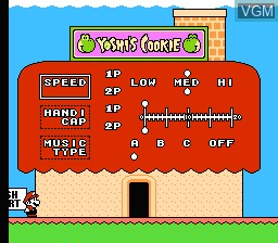 Menu screen of the game Yoshi's Cookie on Nintendo NES