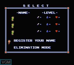 Menu screen of the game Zelda II - The Adventure of Link on Nintendo NES