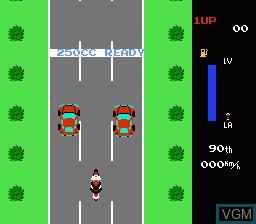Menu screen of the game Zippy Race on Nintendo NES