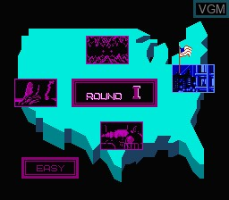 Menu screen of the game Zombie Nation on Nintendo NES