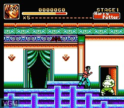 In-game screen of the game Harry's Legend on Nintendo NES