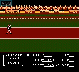 In-game screen of the game Decathlon on Nintendo NES