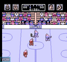 In-game screen of the game Hit the Ice on Nintendo NES