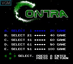 In-game screen of the game 100-in-1 Contra Function 16 on Nintendo NES