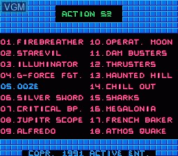 In-game screen of the game Action 52 on Nintendo NES