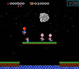In-game screen of the game Balloon Fight on Nintendo NES