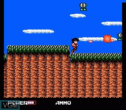 In-game screen of the game Clash at Demonhead on Nintendo NES