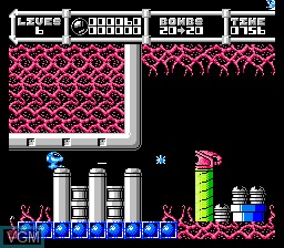In-game screen of the game Cybernoid - The Fighting Machine on Nintendo NES