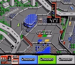 In-game screen of the game Danny Sullivan's Indy Heat on Nintendo NES