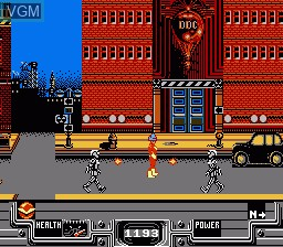 In-game screen of the game Defenders of Dynatron City on Nintendo NES