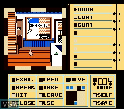 In-game screen of the game Deja Vu on Nintendo NES