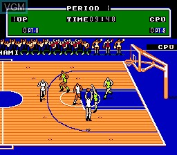 In-game screen of the game Double Dribble on Nintendo NES