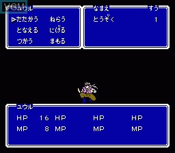 In-game screen of the game Double Moon Densetsu on Nintendo NES
