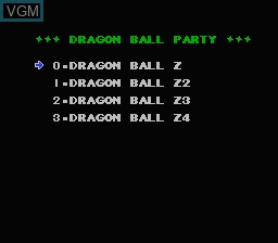 In-game screen of the game Dragon Ball Party on Nintendo NES