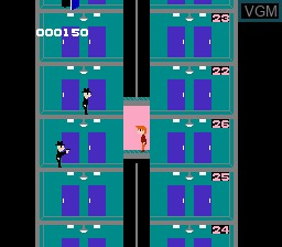 In-game screen of the game Elevator Action on Nintendo NES