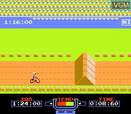 In-game screen of the game Excitebike on Nintendo NES