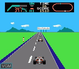 In-game screen of the game F-1 Race on Nintendo NES