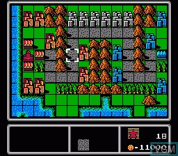 In-game screen of the game Famicom Wars on Nintendo NES