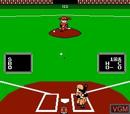 In-game screen of the game Famicom Yakyuu Ban on Nintendo NES