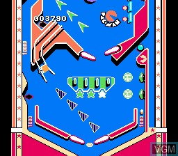 In-game screen of the game Family Pinball on Nintendo NES