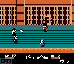 In-game screen of the game Ganbare Goemon 2 on Nintendo NES