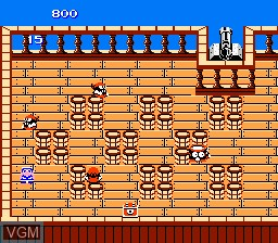 In-game screen of the game Higemaru Makaijima - Nanatsu no Shima Daibouken on Nintendo NES