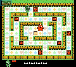 In-game screen of the game Hirake! Ponkikki on Nintendo NES