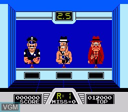 In-game screen of the game Hogan's Alley on Nintendo NES