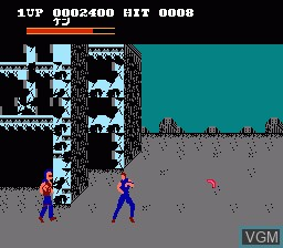 In-game screen of the game Hokuto no Ken on Nintendo NES